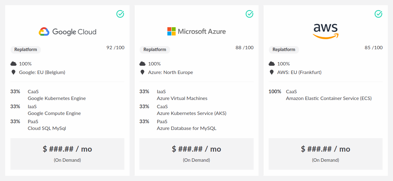 tool screenshot comparing aws vs azure vs gcp