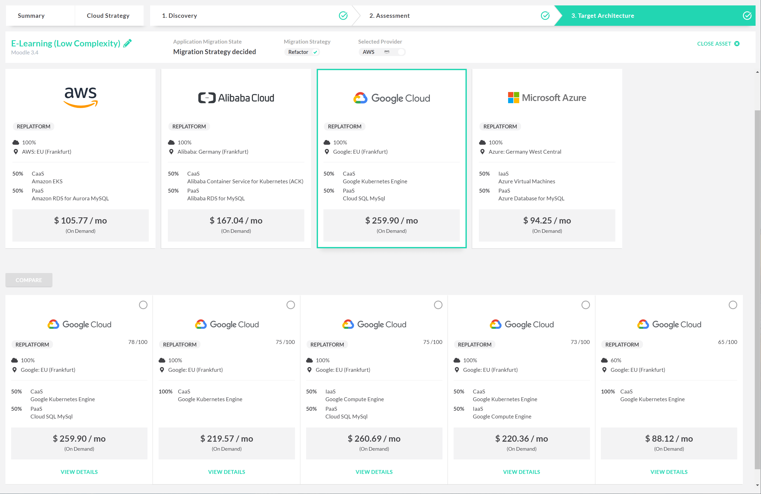 tool report showing Google Cloud pricing vs AWS vs Alibaba vs Azure